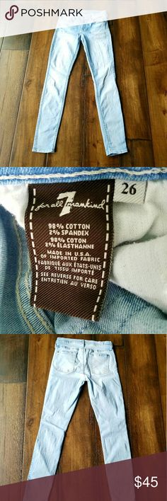 7 for all mankind stretch skinny jeans size 26 Light wash skinny jeans with stretch by 7 for all mankind. Size 26, 98% cotton 2% Spandex. Machine wash cold inside out, tumble dry low. 7 For All Mankind Jeans Skinny