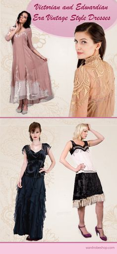 Victorian Era inspired clothes, originating in the British culture - the United Kingdom and the British Empire up until the early 1900s. Edwardian Era inspired clothes from the 1900–1909 period, originating in European-influenced countries, continuing the long elegant lines of the 1890s.
