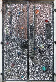 Claire Falkenstein, Entrance Gates to the Palazzo, 1961, Iron and colored glass, Peggy Guggenheim Collection, Venice