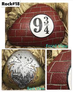 Double Sided Harry Potter ispirato incisa mattoni dipinti Rock