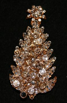 VERY RARE Miriam Haskell Clear Crystal Christmas Tree Pin ~ Book Piece..