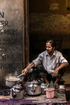 A street vendor  cooks tea/Masala Chai at Varanasi
