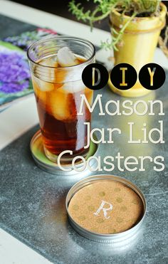 Such a cute idea! Take the lid of a mason jar and turn it into a coaster. (How great are mason jars for just about any DIY project?) #diy