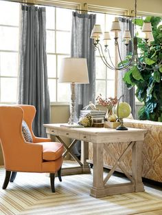we use our bourdonnais desk like a sofa table to squeeze and office into a large bennington ethan allen desk