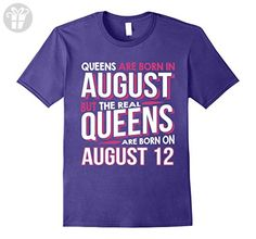 Mens Real Queens Are Born On August 12 T-shirt 12th Birthday Gift Medium Purple - Birthday shirts (*Amazon Partner-Link)