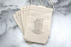 Muslin tea party favor bags 3x5 Set of 20  by CraftyClementines,   ║✿pinned by Colette's Cottage ✿