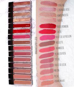 Swatches of Jouer cosmetics Long Wear Lip Creme Liquid Lipsticks $18 each