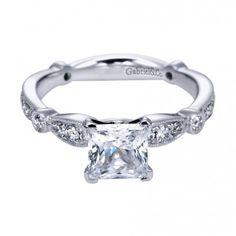 Vintage Engagement Ring: Featuring a princess cut diamond. #weddings #beautiful #engagementring