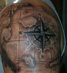 Aeronautical compass/map tattoo