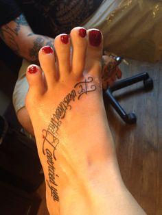 """My first tattoo in memorial to my grandparents, """"it was then that I carried you"""" from the poem footprints in the sand #tattoo #memorial #footprints #grandmother"""