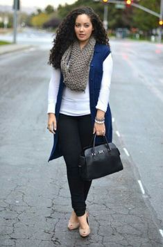love the longline vest with a simple white tee and scarf. this whole look is great