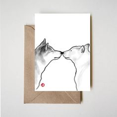 Shiba Inu Love, Unique Sumi-e Painting Card Ink Illustration Valentine Day Drawing Couple Wedding Zen Asian Dog Puppy Anniversary Couple Sketch, Couple Drawings, Eye Drawings, Asian Dogs, Valentines Day Drawing, Sumi E Painting, Sketches Of Love, Couple Painting, Dog Logo