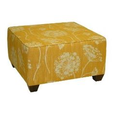Yellow patterned simple ottoman