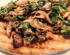 Cipollini Onion, Mushroom and Spinach Vegan Pizza - really, I just like the idea of a sauceless pizza like this, it looks nice. pizza dough, cipollini onions, assorted mushrooms, fresh spinach, fresh basil (optional), olive oil, salt & pepper