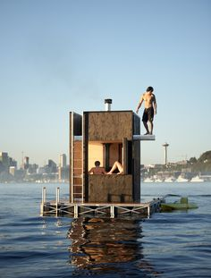 Outbuilding of the Week: Fire on Water—a Sauna in Seattle - Gardenista Best Swimming, Natural Swimming Pools, Natural Pools, Saunas, Tadelakt, Small Pools, Floating House, Dream Pools, Pool Landscaping