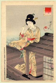 Toyohara Chikanobu (豊原周延) (1838–1912) - Boating (Standing bijin on a pleasure boat.)