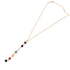 Gold Color Natural Stone Yogo Chakra Beads Pendant Necklace Women Colorful Tassel Pendant Jewelry