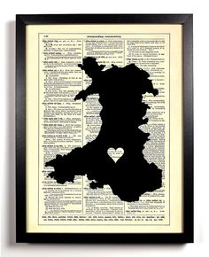 Map Of Wales With Heart Repurposed Book Upcycled by StayGoldMedia, $6.99