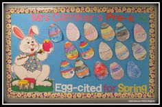 Easter Egg Bulletin Board in Preschool via RainbowsWithinReach