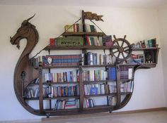 Viking ship bookshelves. Clever!