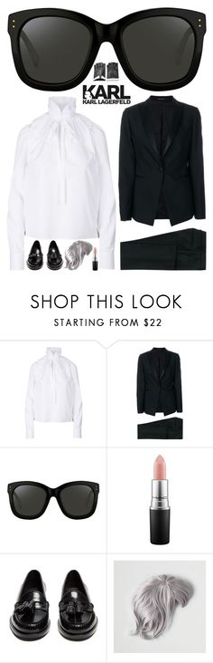"""""""Godfather of Fashion"""" by sharmarie ❤ liked on Polyvore featuring Dsquared2, Tagliatore, Linda Farrow, MAC Cosmetics, Yves Saint Laurent, American Eagle Outfitters and Karl Lagerfeld"""