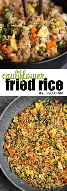 Cauliflower Fried Rice is an easy to make a tasty, low carb meal packed with vitamins and flavor! This rice is so good you won't even think you're eating healthy! #realhousemoms #Cauliflowerrice #Healthyrecipes #Lowcarb #Healthyrice