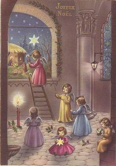 Vintage-pretty-Italian-Christmas-Angel-holiday-artist-postcard