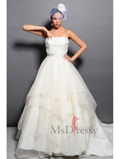 Ball Gown Strapless Chapel Train Organza Wedding Dress with Appliques