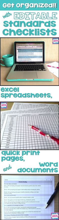 Use editable standards checklists to get and STAY organized. Use Excel or Word, or just quickly add students' names and hit print. Digital and paper- the best of both worlds! Teacher Hacks, Teacher Binder, Teacher Organization, Teacher Tools, Teacher Resources, Organized Teacher, Common Core Organization, Teacher Checklist, Teacher Stuff