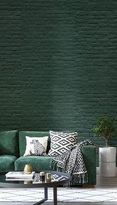 Deep Green Brick Wallpaper Mural Go green with this emerald green brick wallpaper. Dark, sumptuous tones set the scene in your home with the brick texture adding another layer of intrigue. Pair with metallics for a truly luxurious yet pared-down feel. Brick Wallpaper Mural, Dark Green Wallpaper, Brick Wallpaper Living Room, Exposed Brick Wallpaper, Geometric Wallpaper Living Room, Floor Wallpaper, Forest Wallpaper, Green Interior Design, Green Home Design
