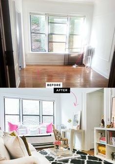 What a transformation! » Fizz56 Dream Room Makeover: Winner's Home Tour #theeverygirl // #studio apartment // #beforeafter // graphic rug // white couch // black gold white