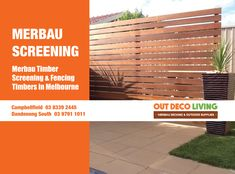 Out Deco Living Merbau Screenings are made from A Grade Merbau, great to use for Fencing or Screening Projects around your homes & garden. Merbau Decking, Decking Supplies, Fencing, Melbourne, Home And Garden, Homes, Outdoor Decor, Projects, Log Projects