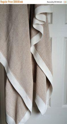Knitted blanket - Organic throw - Pure Cotton blanket - Fashion Sofa throw  - Chunky knit blanket - Handmade Wedding Gift 343af3c4e