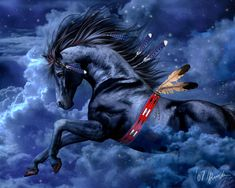 fanticy | ... , Clouds, Fantasy, Horse, Indian, Magnificent, Sky, Spirit, Storm