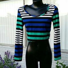 NWT Teen Vogue Crop Top Sz L New long sleeve striped crop top tagged as a large may fit medium also Teen Vogue  Tops Crop Tops