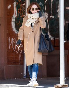 Too baggy: The Oscar winner drowned her slim frame in an ill-fitting ensemble which included an oversized coat