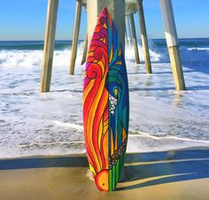 Sunset stained glass style surfboard by LiveLoveSurfDesigns