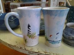 Lighthouse beach scene latte mug hand painted by Studio12hatteras