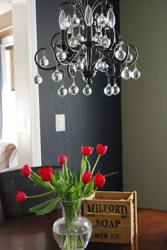 chalkboard wall - contrasting paint