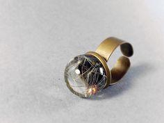 Real Dandelion Ring Sphere Resin Orb Ring Dandelion by ByEmilyRay