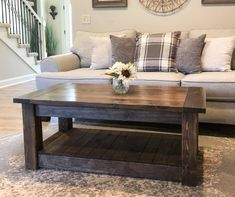 Chunky farmhouse coffee table, clean lines 36 inches - Welcome to our website, We hope you are satisfied with the content we offer. If there is a problem - Solid Wood Coffee Table, Rustic Coffee Tables, Diy Coffee Table, Decorating Coffee Tables, Coffee Table Design, Cofee Tables, Barnwood Coffee Table, Farmhouse Style Coffee Table, Storage Bench With Baskets