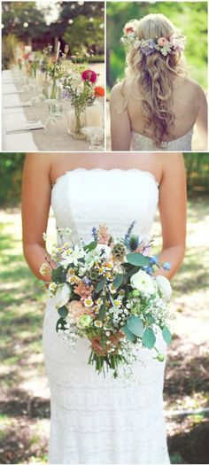 Add a floral wreath in muted mint, coral, and soft white and instantly transform a classic allover lace gown. LOVE THE STYLE OF THE DROOPINESS! ❤️