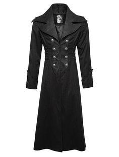 viktorianischer / Steampunk-Mantel Lincoln mit Nadelstreifen und großem Reverskragen