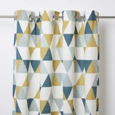 This Rima curtain features a triangle pattern that'll elegantly dress your window. The unlined curtain with invisible stitching helps to control brightness and add privacy. Gold Curtains, Green Curtains, Colorful Curtains, Curtains With Blinds, Blue Bedroom Curtains, Grey And Mustard Curtains, Mustard Bedroom, Blue Gray Bedroom, Gold Bedroom Decor