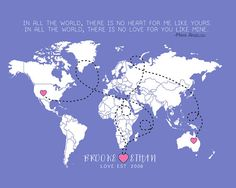 Custom World Map, Long Distance Relationship Gift - 8x10 Art Print, Chalkboard Map, Couples Names, Dotted Lines, Quote Map