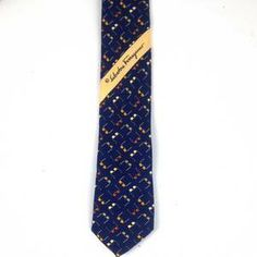 Salvatore Ferragamo Dark Blue Silk Tie with sunglasses motif. Classic men tie