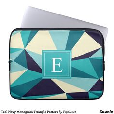 Teal Navy Monogram Triangle Pattern