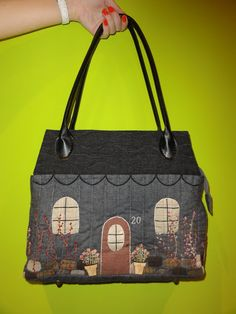 Li'l houses fabric purse