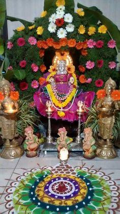 House Decorations, Festival Decorations, Flower Decorations, Ganpati Decoration Design, Hindu Rituals, Puja Room, Goddess Lakshmi, Simple Rangoli, Indian Gods