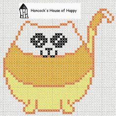 candy cat cross-stitch pattern